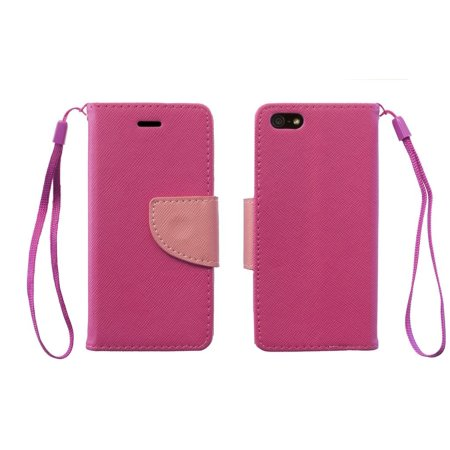 Wristlet PU Leather Flip Case Clutch Wallet Card ID Cover For Apple iPhone 5 5s - Pink, Designed by RawX By RawX from USA ()
