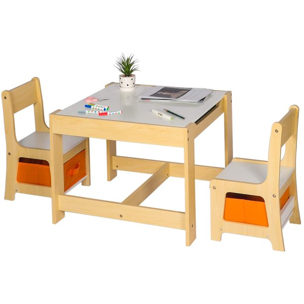3 in 1 Kids Wood Table and 2 Chairs Set Kids Multi ...