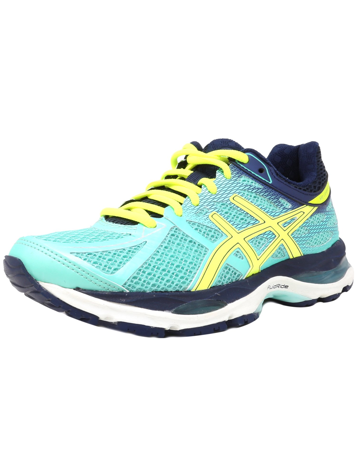 Asics Women's Gel Cumulus 17 Aqua Mint Flash Yellow Navy Ankle High Running Shoe 5.5N