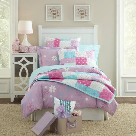 Lullaby Bedding  Butterfly Garden Printed Cotton 3-piece Duvet Set Purple/Pink Twin 2 Piece