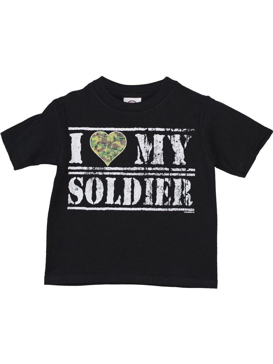 "Girls Black ""I Heart My Soldier"" Print Short Sleeve T-Shirt"