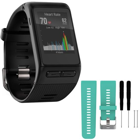 Garmin vivoactive HR GPS Smartwatch - X-Large Fit - Black (010-01605-04) with General Brand Silicone Band Strap + Tools for Garmin Vivoactive HR Sport Watch (Teal)