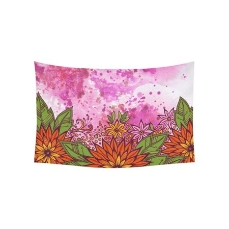 CADecor Watercolor Painting Flowers Wall Hanging Tapestry 40x60 inches Custom Beadroom Home Decor](Custom Tapestry)