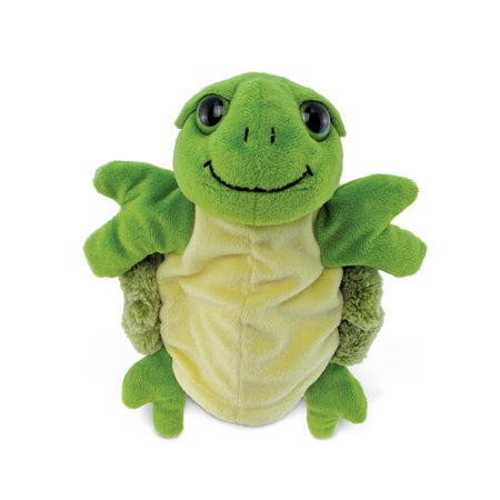 Puzzled Green Hand Puppet Big Eyes Sea Turtle Plush, 10 Inch Soft Stuffed Animal Educational Gloves That Talk Interactive Preschool Storytelling Plushie Ocean Life Themed Kids Toddlers Toys & Games Big Mouth Animal Puppets