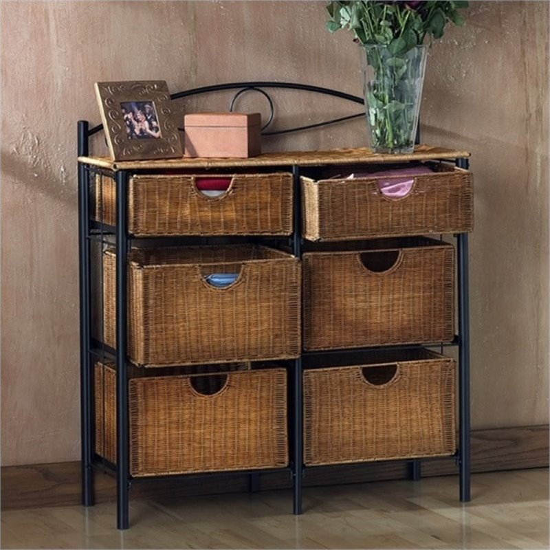Bowery Hill Iron Wicker Storage Chest in Black by Bowery Hill