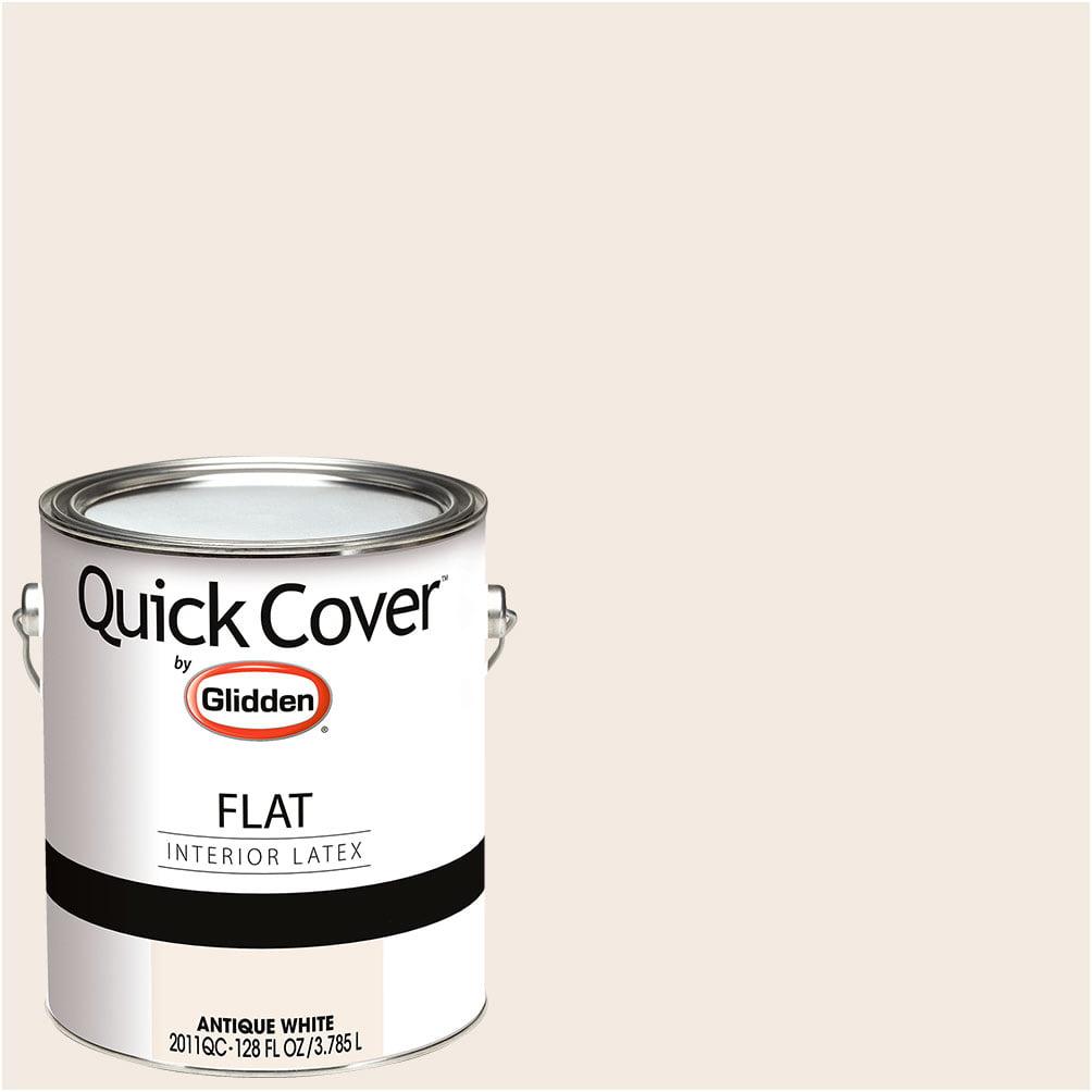 Glidden Quick Cover, Interior Paint, Flat Finish, Antique White, 1 Gallon