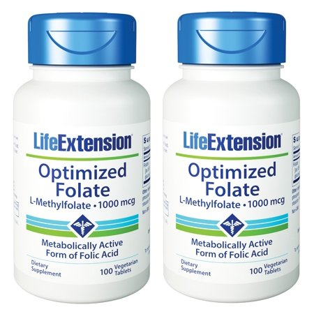 Life Extension Optimized Folate L-Methylfolate 1000 Mcg 100 VTablets (Pack of 2)