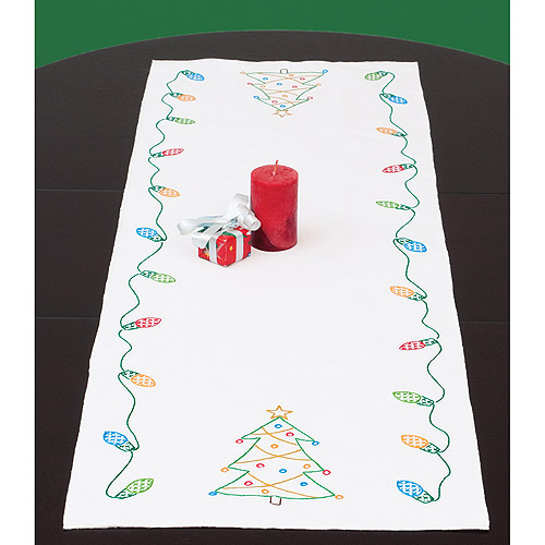 "Jack Dempsey Christmas Stamped Table Runner, 15"" x 42"""