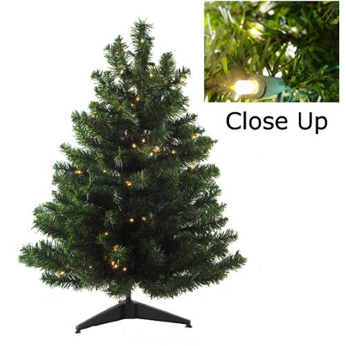 "18"" Pre-Lit Natural Two-Tone Pine Artificial Christmas Tree - Candlelight Clear LED Lights"