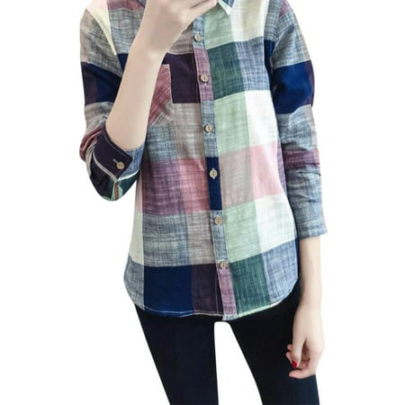 Women Casual Button Down Lapel Shirt Plaids Checks Flannel Shirts Blouse Top