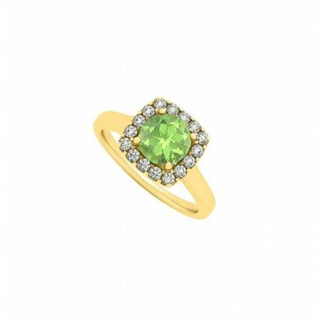 UBNR84658AGVYCZPR Peridot & CZ Square Halo Fashion Engagement Ring in 18K Yellow Gold Vermeil Trendy Design, 15