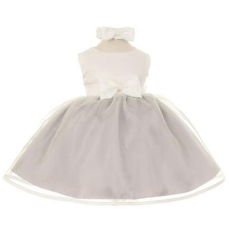 Baby Girls Silver Ivory Satin Organza Bow Headband Dress 18M