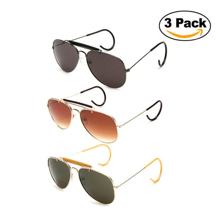 Timeless Classic Aviator Sunglasses with Brow Bar and Cable Wire Wrap Ears Temples Secured (Asian Fit Aviators)