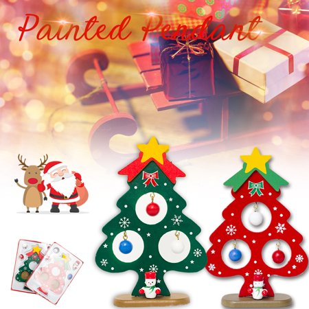 Miniature Christmas Ornaments Wooden Mini Christmas Tree Desktop Tabletop Decoration Arts and Crafts Centerpiece Kids Children Gift Teaching Reward Home Party Wedding Decor](Tree Wedding Centerpieces)