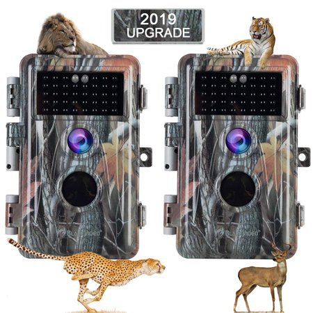[2019 Upgraded] 2-Pack Night Vision Game Trail Cameras 16MP 1080P No Glow Hunters Deer Hunting Cams IP66 Waterproof & Password Protected Motion Activated Photo & Video Model, Time Stamp & Time
