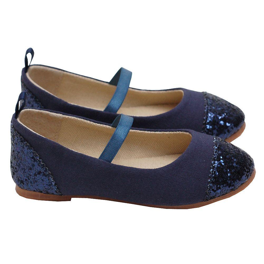 L'Amour Navy Glitter Heel Toe Mary Jane Style Shoe Toddler Girl 5-Little Girl 4