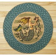 "Earth Rugs RP-245 Mermaid Printed Rug, 27""Sea Blue/Ivory"