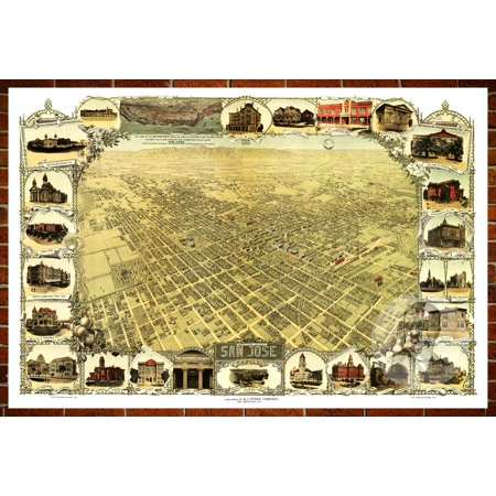 Ted's Vintage Art Map of San Jose, CA 1901; Old California Decor 24