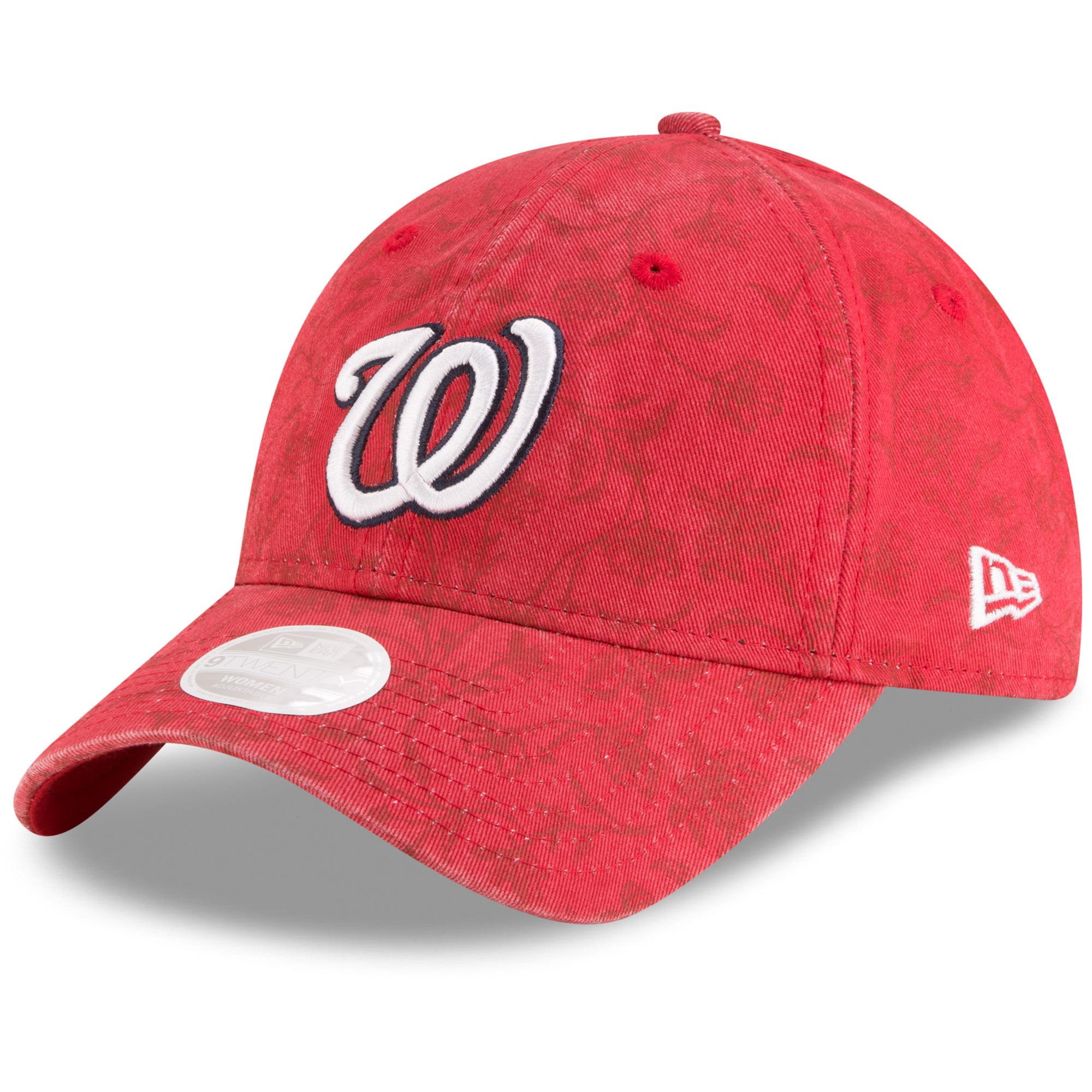 Washington Nationals New Era Women's Floral Peek 9TWENTY Adjustable Hat - Red - OSFA