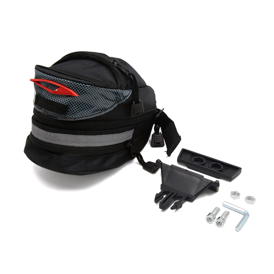 Black 2 Zipped Pockets Tail Saddle Bag Cellphone Pouch Holder for Bicycle Bike