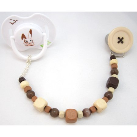 Button Pacifier Clip with Adorable Wooden Beads Color Beads Pacifier Clip