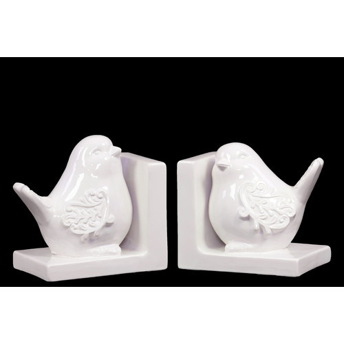 Urban Trends Ceramic Bird Bookend Gloss Turquoise (Set of 2)