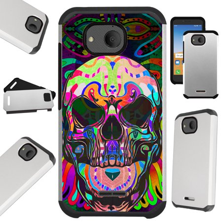Compatible Alcatel Tetra (2018) Case Hybrid TPU Fusion Phone Cover (Skull Tattoo)