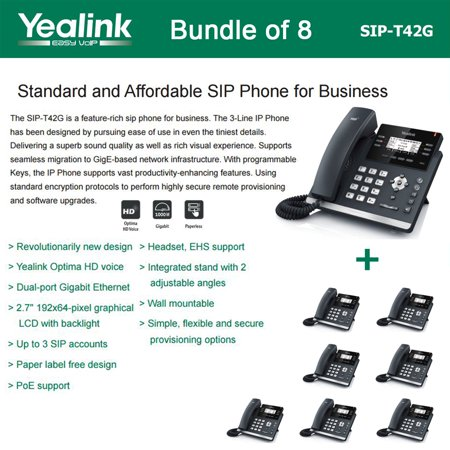 Voice Over Ip Phone Systems - Yealink SIP-T42G 8-PACK Dual Gigabit IP Phone 12-Line HD voice PoE LCD XML