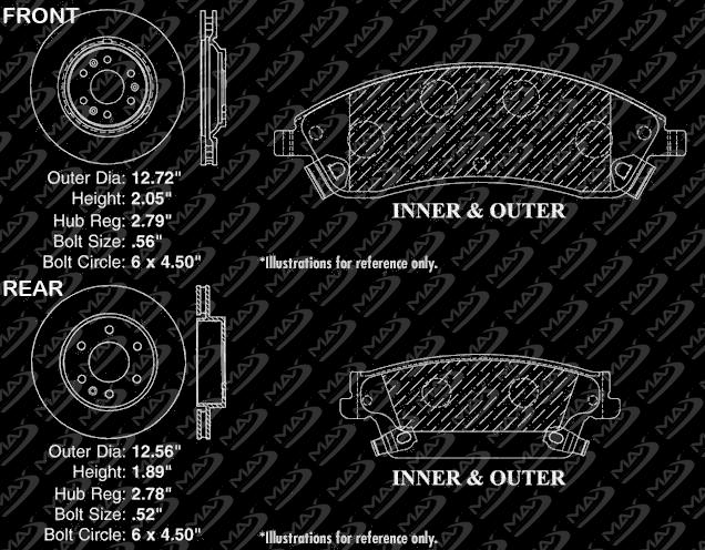 2004 2005 2006 2007 Cadillac SRX Max Performance Ceramic Brake Pads F+R
