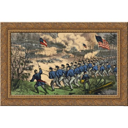 The Battle At Cedar Mountain  Aug  9Th  1862 24X18 Gold Ornate Wood Framed Canvas Art By Currier And Ives