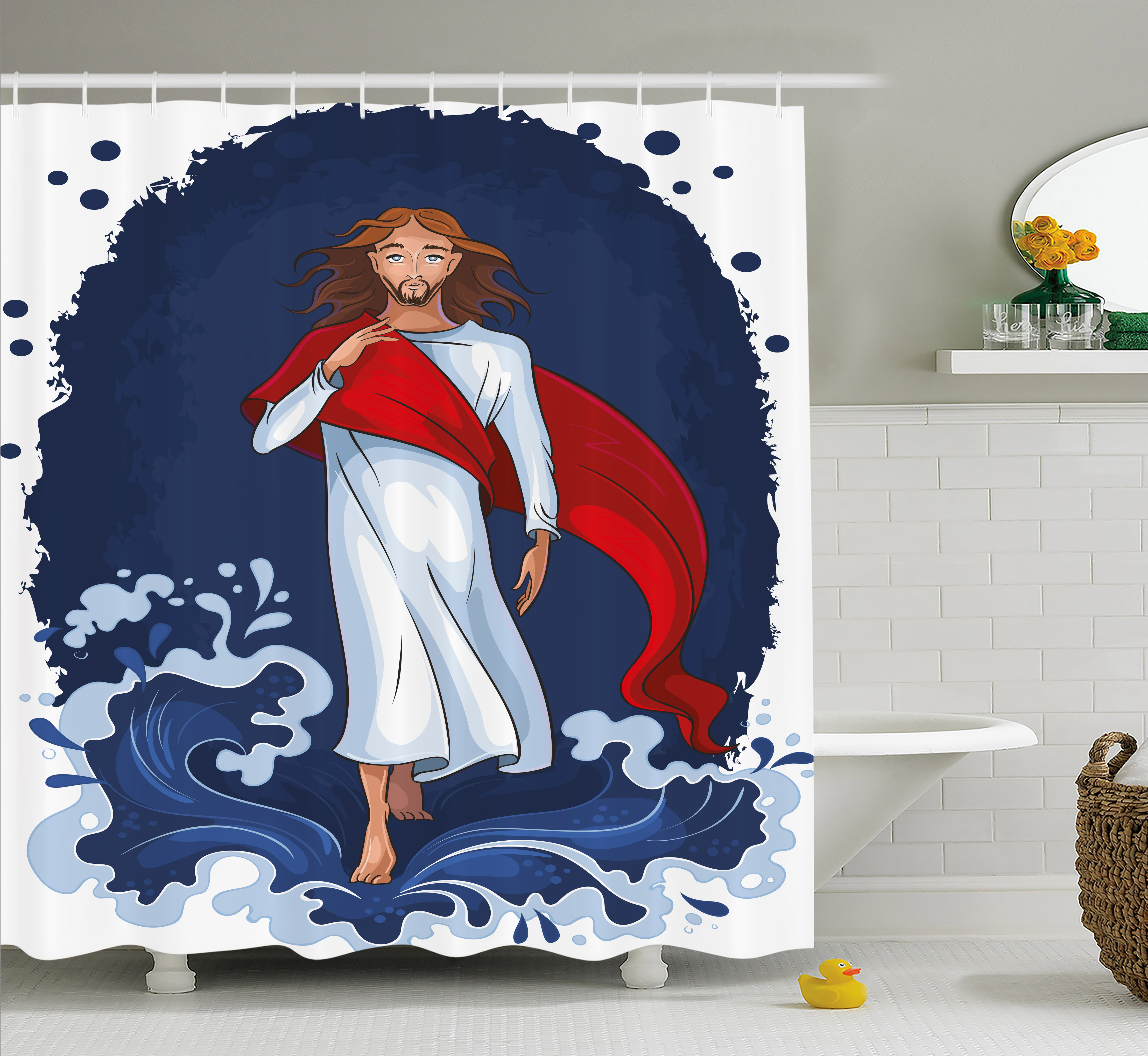 Religious Shower Curtain, Biblical Cartoon Messiah Walking on Water Miracle Religion Faith Belief, Fabric Bathroom Set with Hooks, 69W X 70L Inches, Navy Blue White Red, by Ambesonne