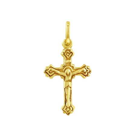 14k Yellow Gold Classic Baptism Religious Small Crucifix Cross for Baby or Kids