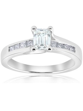 1 1/2ct Emerald Cut Diamond  Engagement Ring 14k White Gold