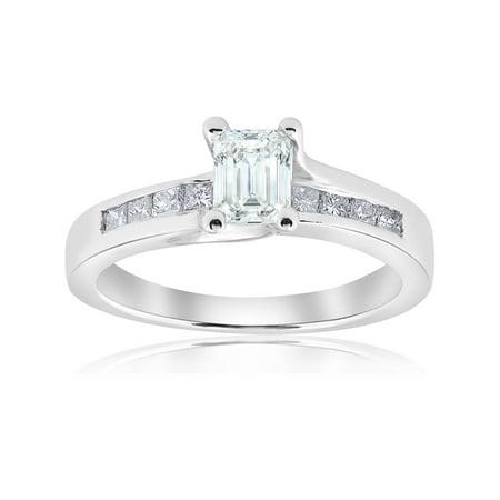 1 1/2ct Emerald Cut Diamond  Engagement Ring 14k White - Vs2 Emerald Diamond Solitaire