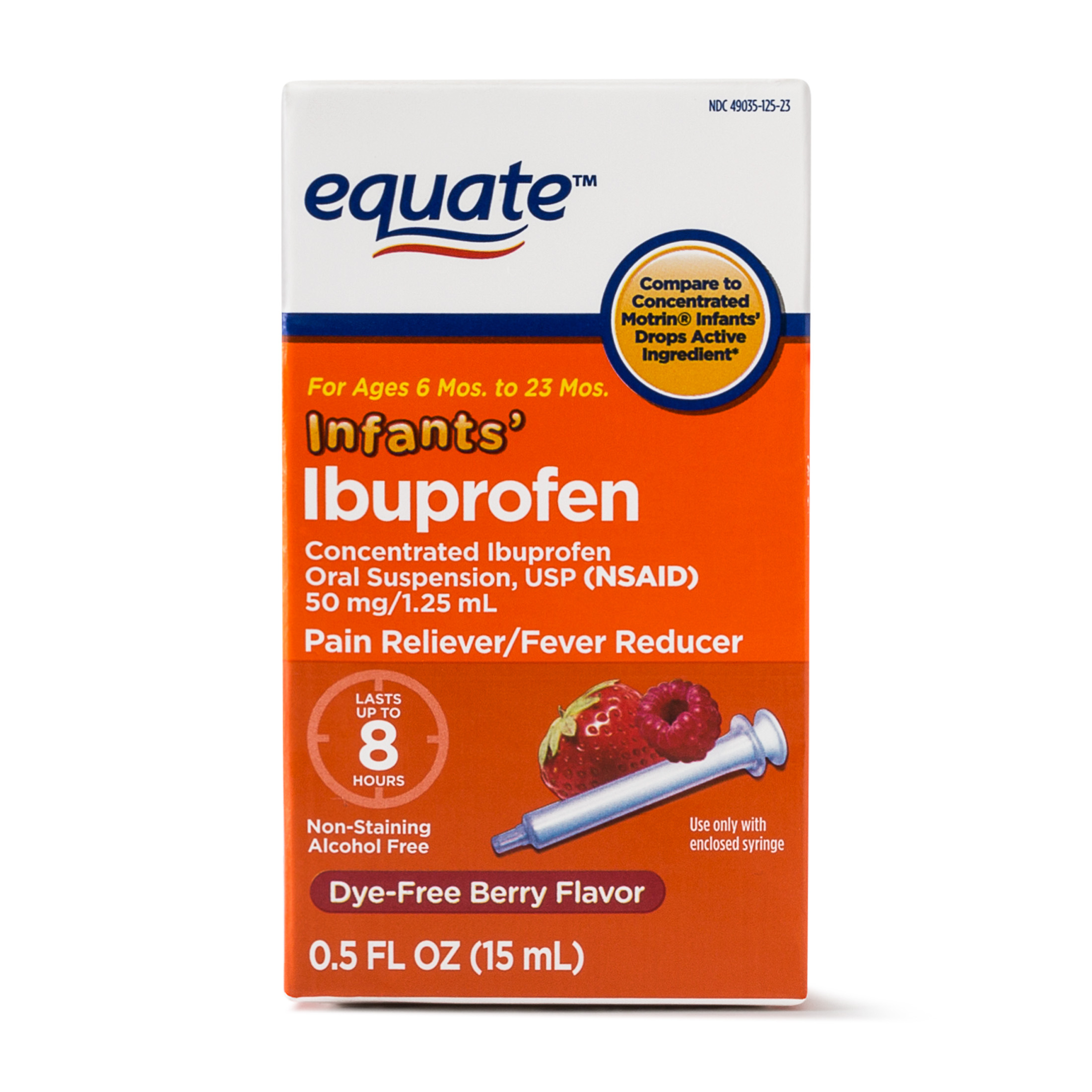 Equate Infants Concentrated Ibuprofen Dye-Free Berry Suspension, 50 mg, 0.5 Oz