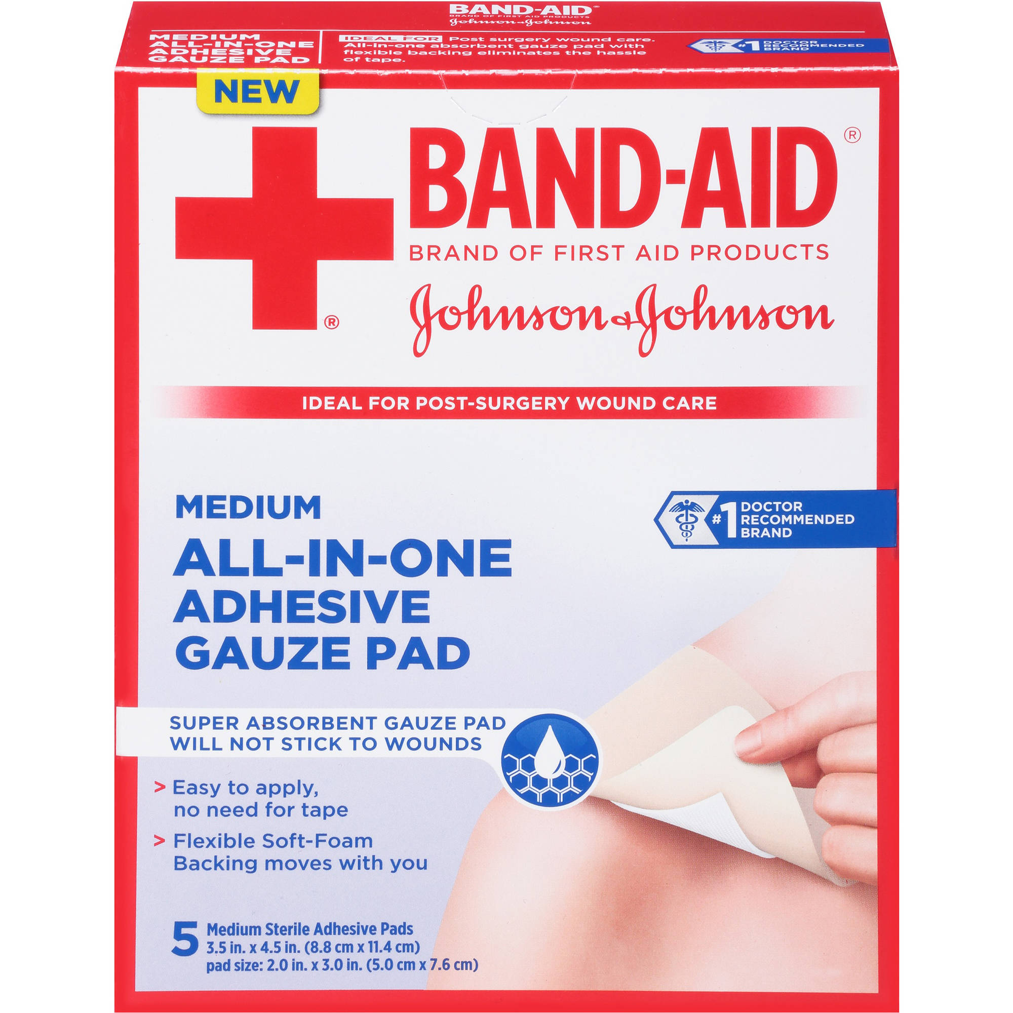 Band-Aid Brand First Aid All-In-One Adhesive Gauze Pad, 5 count