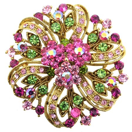 Multicolor Pink Flower Wedding Crystal Pin Brooch and Pendant