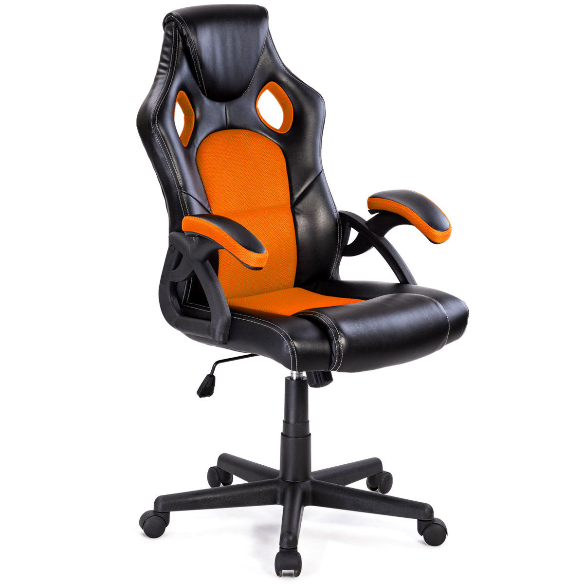 Costway PU Leather Executive Bucket Seat Racing Style Office Chair Computer Desk Task
