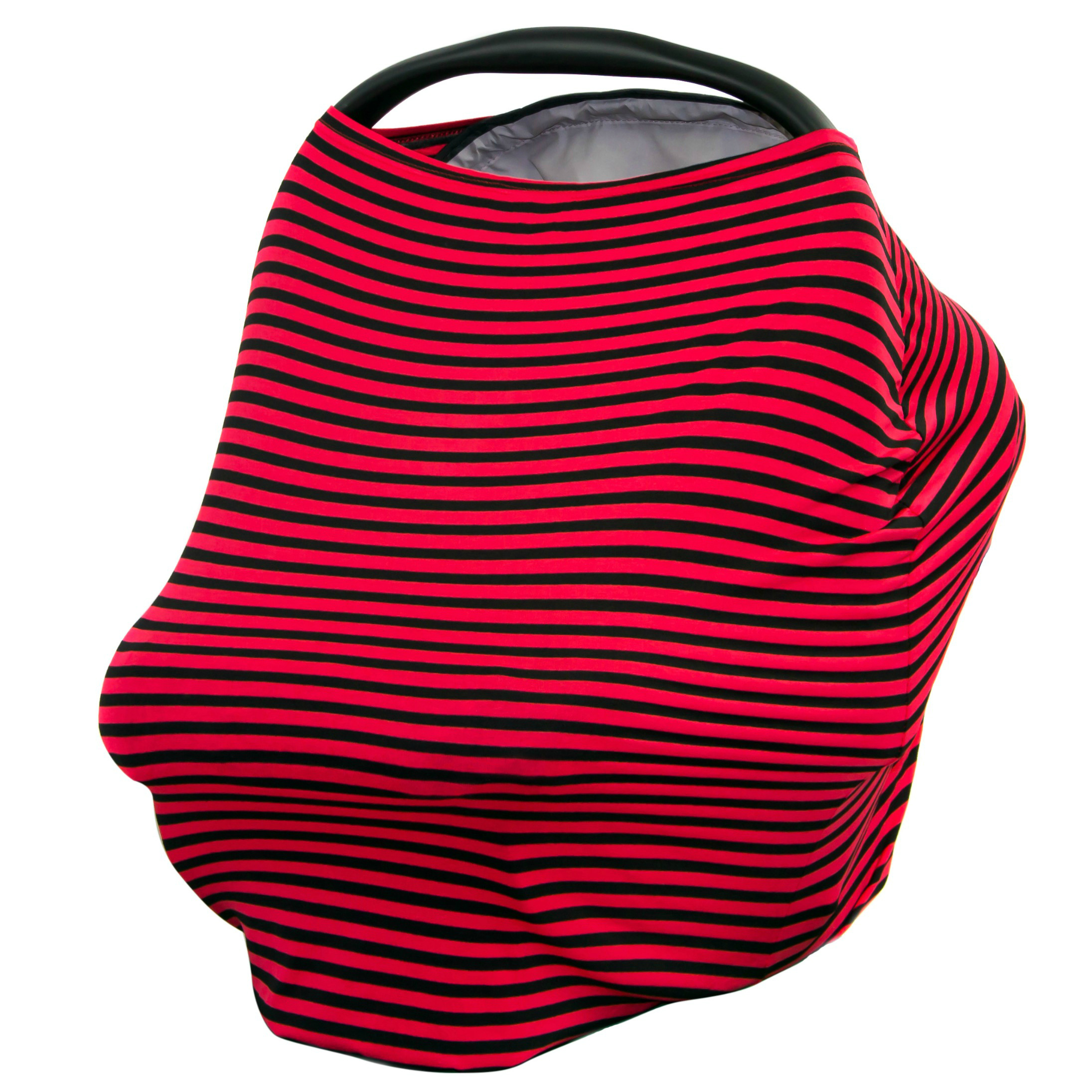 JLIKA Baby Car Seat Canopy Cover and Stretchy Nursing Cover - Red Black Stripe