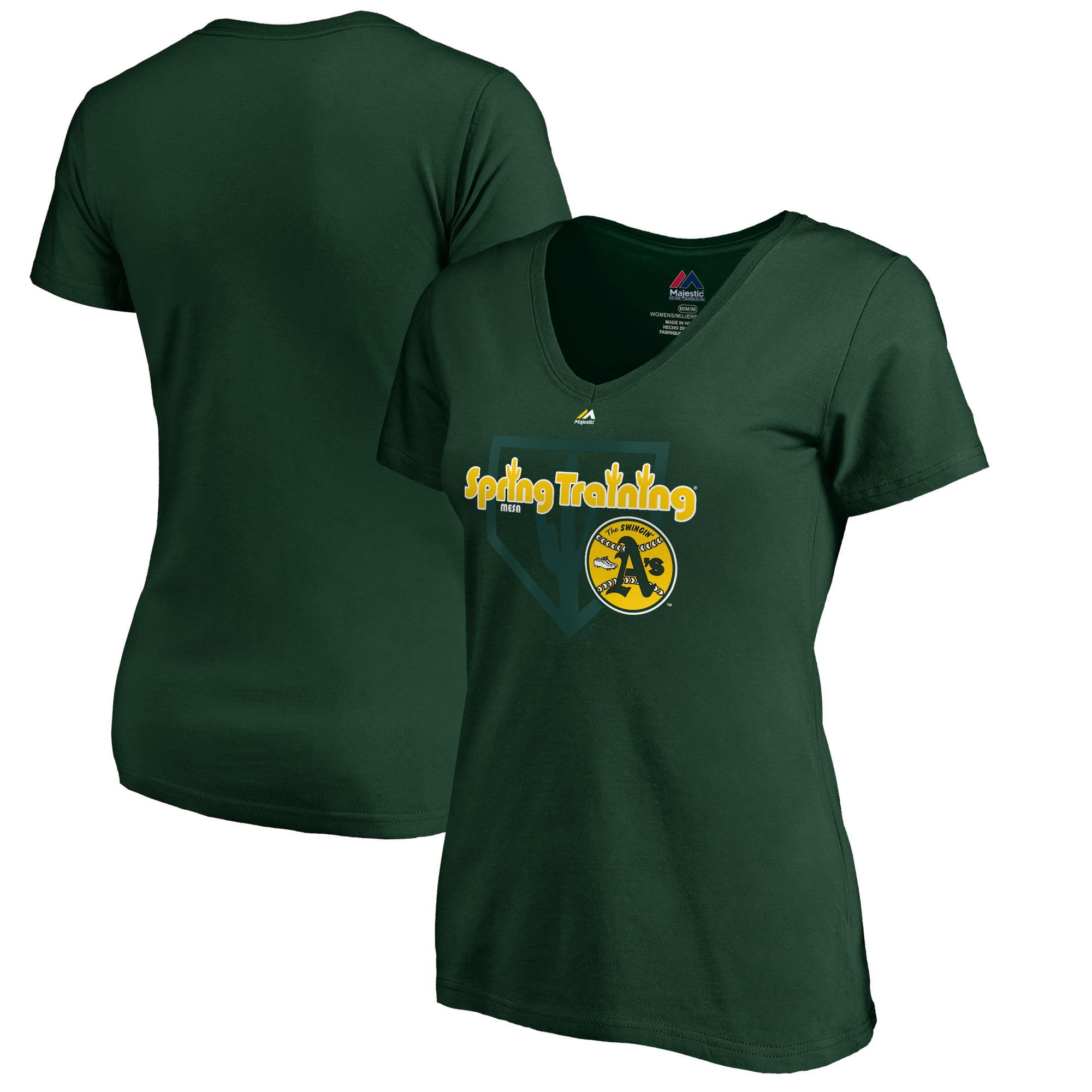 Oakland Athletics Majestic Women's 2019 Spring Training Vintage V-Neck T-Shirt - Green