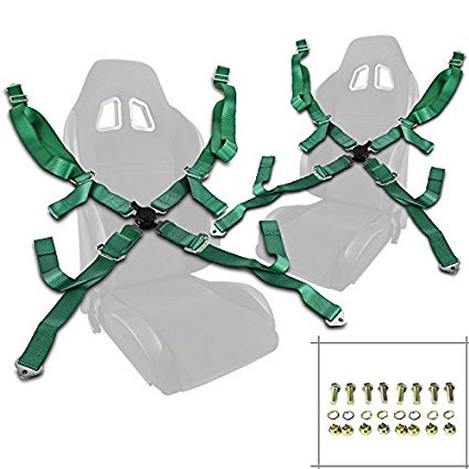 Pair of Green Seat Belt Harnesses, 2