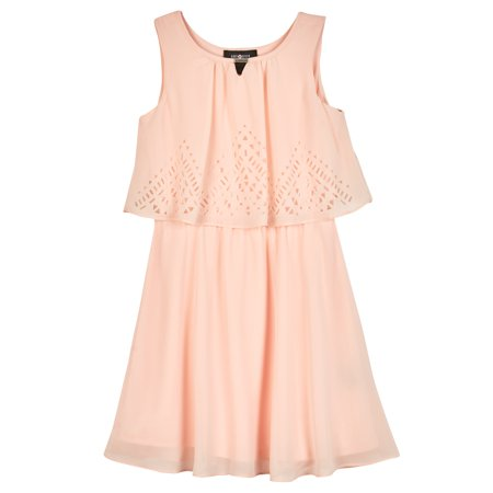 Lasercut Popover Dress with Necklace (Big Girls)