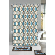 15pc Blue Glenn Bathroom Set Printed Banded Rubber Backing Rug Bath Mats With Fabric Shower Curtain