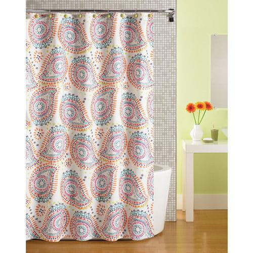 Mainstays Print Paisley Fabric Shower Curtain