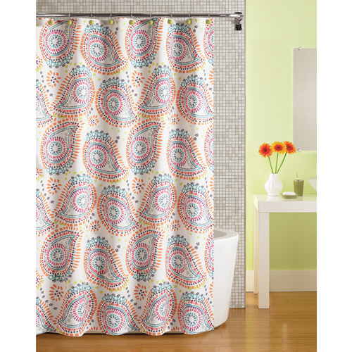 Mainstays Print Paisley Fabric Shower Curtain