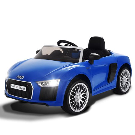 Costway 12V Audi R8 Spyder Licensed Electric Kids Ride On Car R/C Suspension MP3 Lights (Blue Audi Tt Coupe)