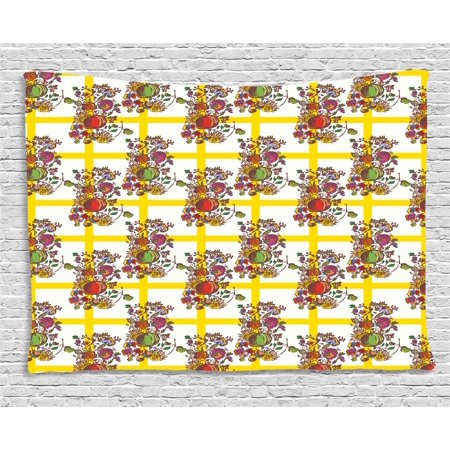 Interestprint Decor Tapestry, Seamless Pattern with Autumn Flowers ...
