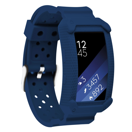 Greatfine Gear Fit2 Unity Series Premium Replacement Band Hybrid Protective Bumper Protective Case For Samsung Gear Fit 2 Smart Watch Accessories  Dark Blue