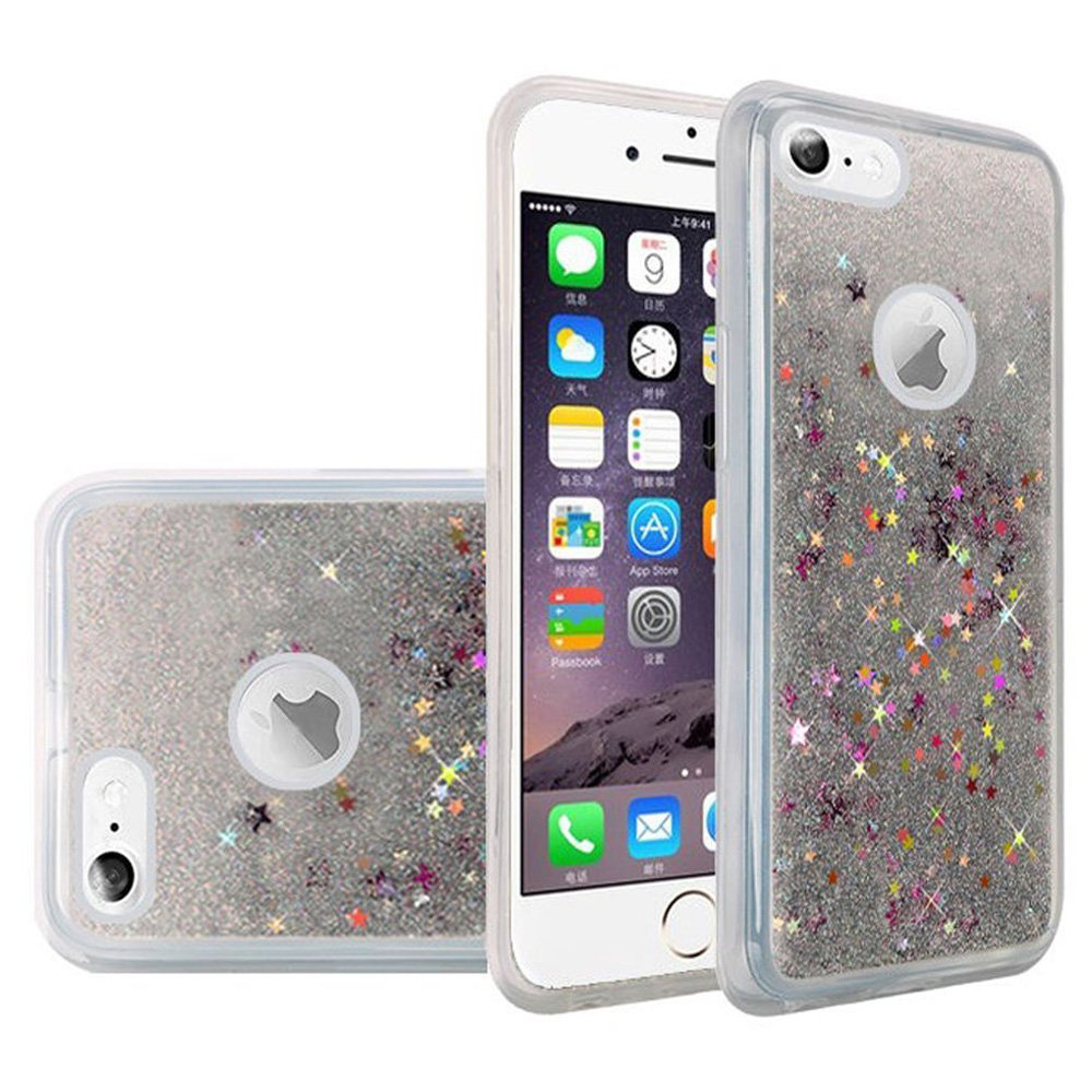 iPhone 6S Case Premium Luxury Glitter Sparkle Bling Hybrid Quicksand Designer Cover Fashion TPU Cover for Apple iPhone 6, iPhone 6S - Silver, Flexible, Slim, ShockProof