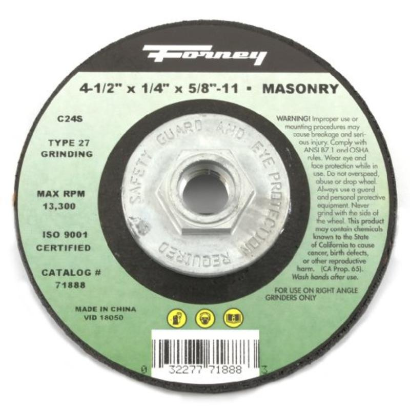 "Grinding Wheel W/5/8""-11 Threaded Arbor, Masonry Type 27, C24S-Bf, 4-1/2"" X 1/4"""